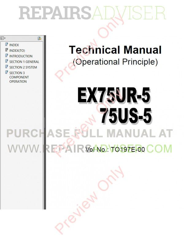 Hitachi EX75UR-5/75US-5 Excavator Set of PDF Manuals, Hitachi Manuals by www.repairsadviser.com