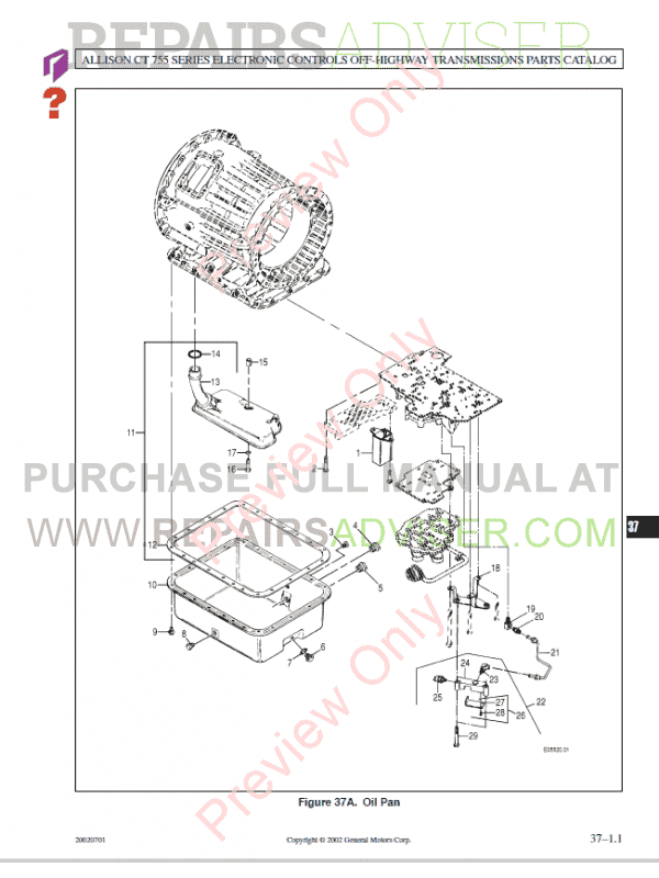Allison Transmission CLT755 Series Electronic Controls Parts Catalog, Manuals for Heavy Equip. by www.repairsadviser.com