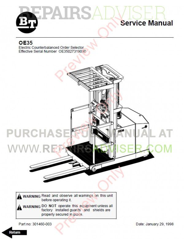 BT Electric Counterbalanced Order Selector OE35 Model Set of PDF Manuals image #1
