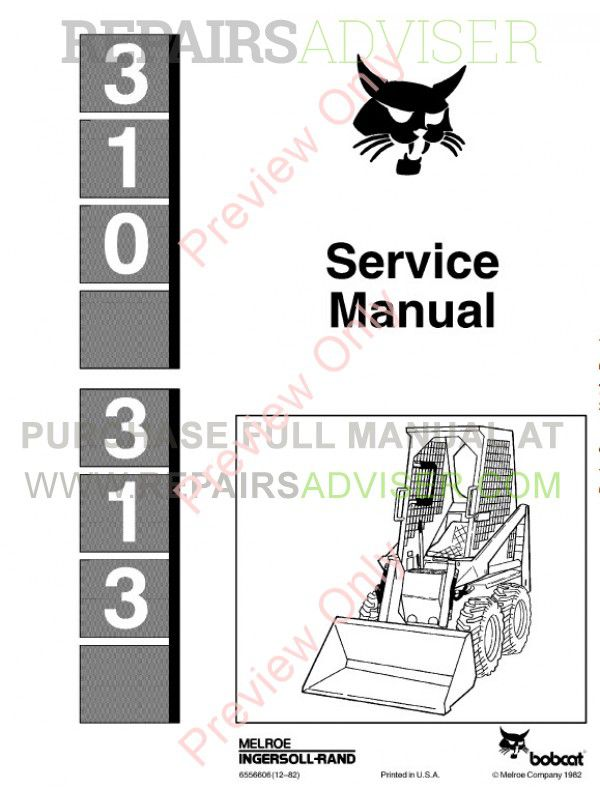 Bobcat 310, 313 Skid Steer Loaders Service Manual PDF image #1