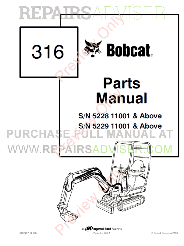 Bobcat 316 Skid Steer Parts Manual PDF, Bobcat Manuals by www.repairsadviser.com