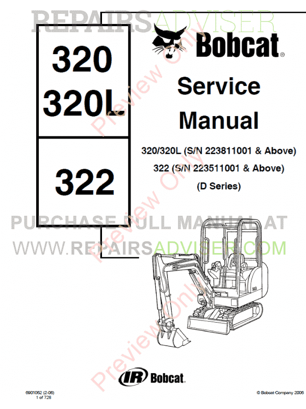Bobcat 320, 320L, 322 (D Series) Excavator Service Manual PDF