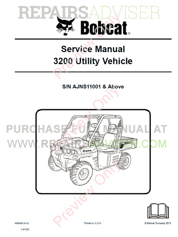 Bobcat 3200 Utility Vehicle Service Manual PDF image #1