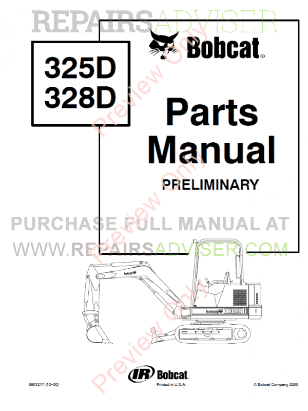 Bobcat 325D, 328D Excavator Parts Manual Preliminary PDF image #1