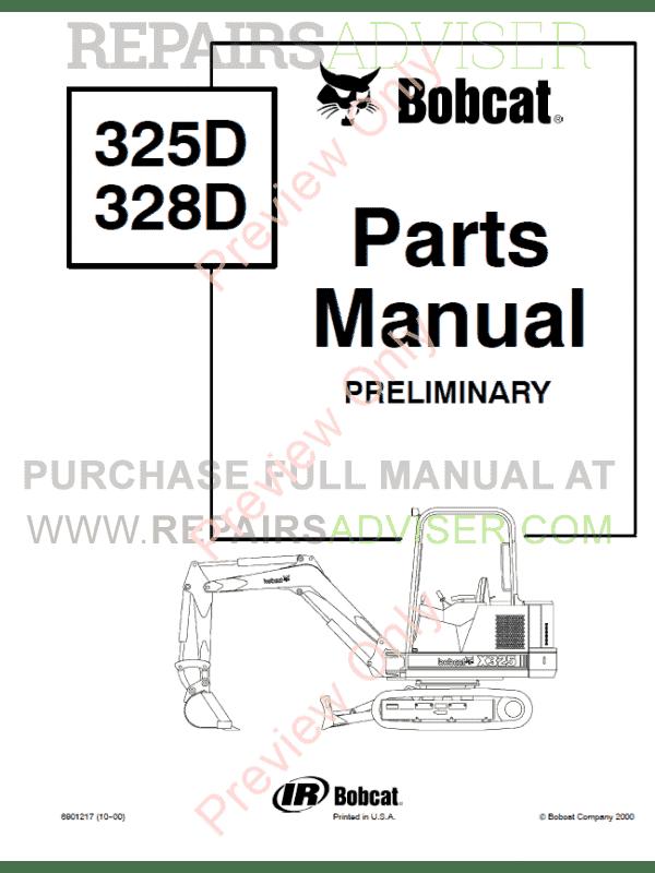 bobcat 325d  328d excavator parts manual preliminary pdf
