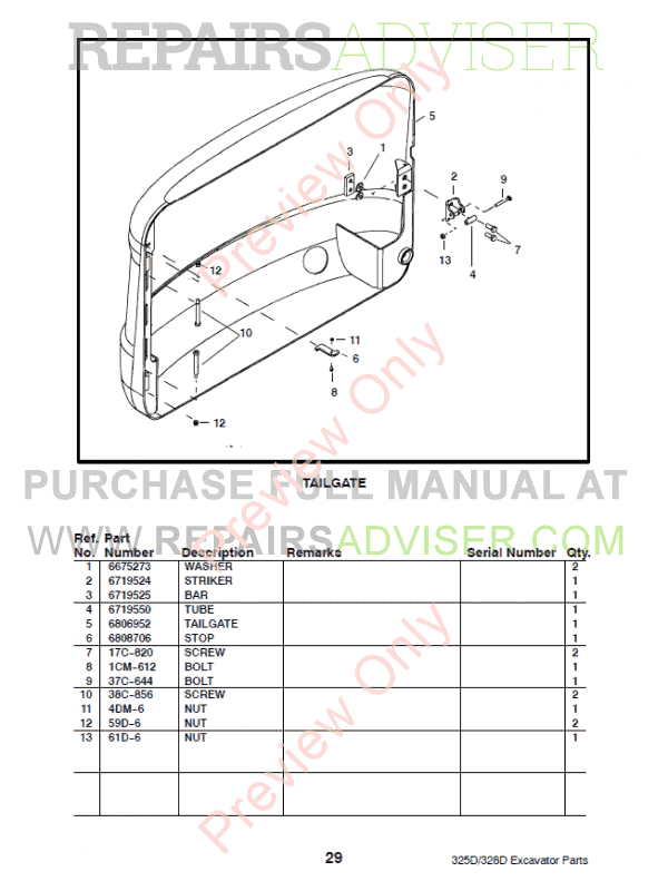 Bobcat 325D, 328D Excavator Parts Manual Preliminary PDF Download
