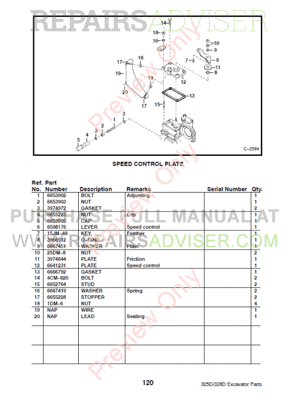 Bobcat 325D, 328D Excavator Parts Manual Preliminary PDF, Bobcat Manuals by www.repairsadviser.com