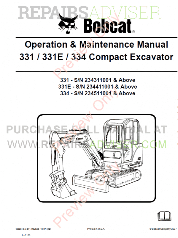 Bobcat 331, 331E, 334 Compact Excavator Operation and Maintenance Manual PDF