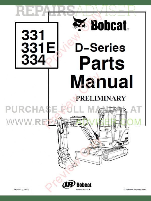 Bobcat 331, 331E, 334 (D-Series) Excavator Parts Manual Preliminary PDF