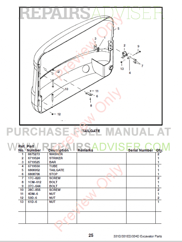 Bobcat 331, 331E, 334 (D-Series) Excavator Parts Manual Preliminary PDF, Bobcat Manuals by www.repairsadviser.com