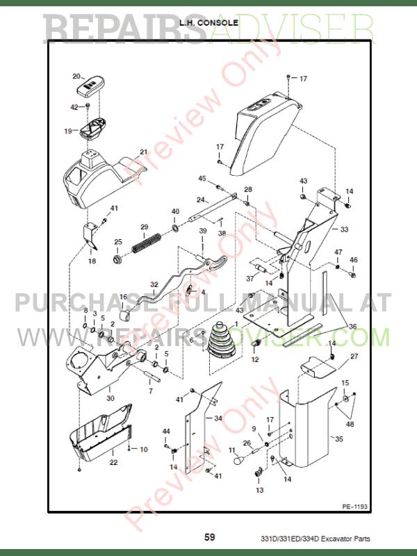 Bobcat 331, 331E, 334 (D-Series) Excavator Parts Manual