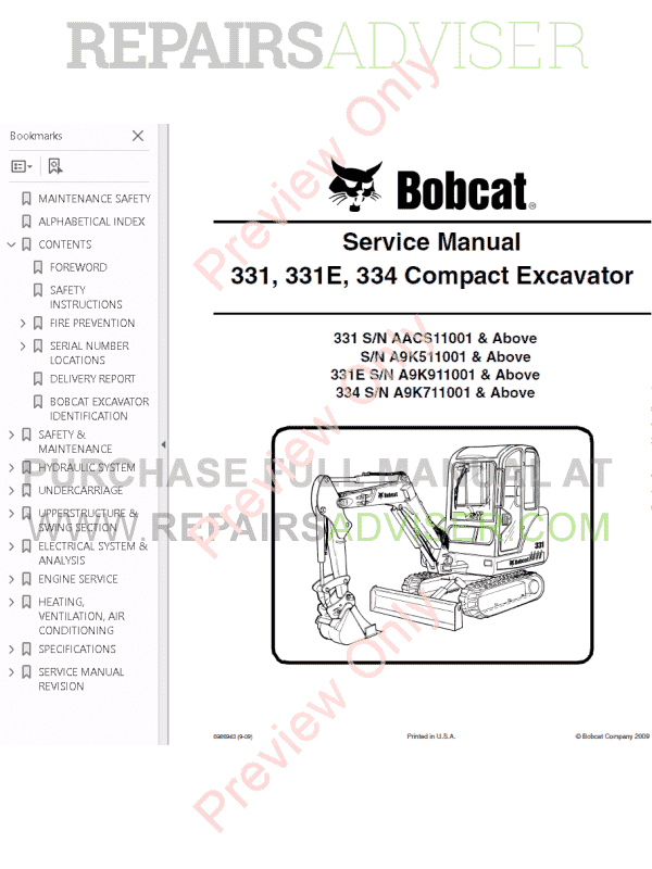 Bobcat 331, 331E, 334 Compact Excavators Service Manual PDF