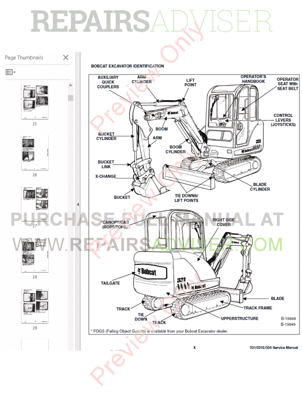 Bobcat 331, 331E, 334 Compact Excavators Service Manual PDF, Bobcat Manuals by www.repairsadviser.com