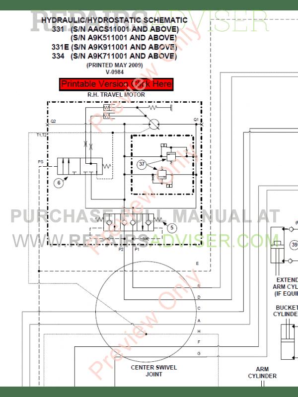 Bobcat 331, 331E, 334 Compact Excavators Service Manual PDF