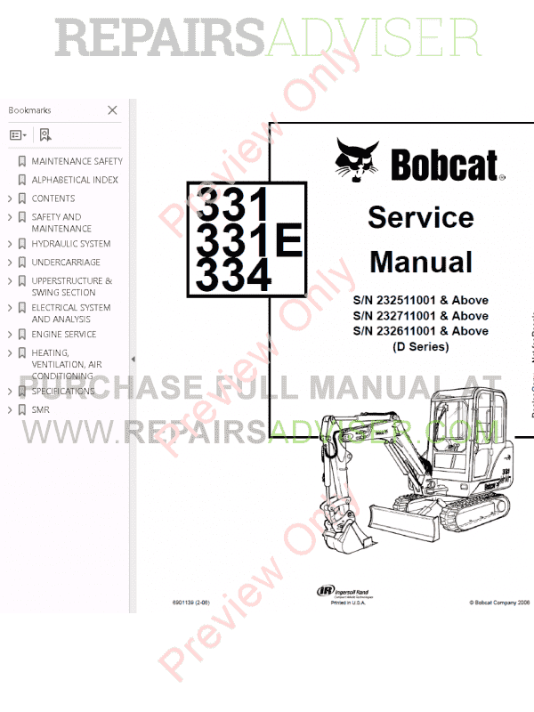 Bobcat 331, 331E, 334 Excavators D-Series Service Manual PDF