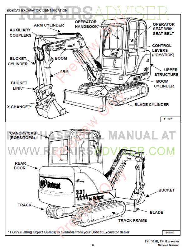 Bobcat 331, 331E, 334 Excavators D-Series Service Manual PDF, Bobcat Manuals by www.repairsadviser.com