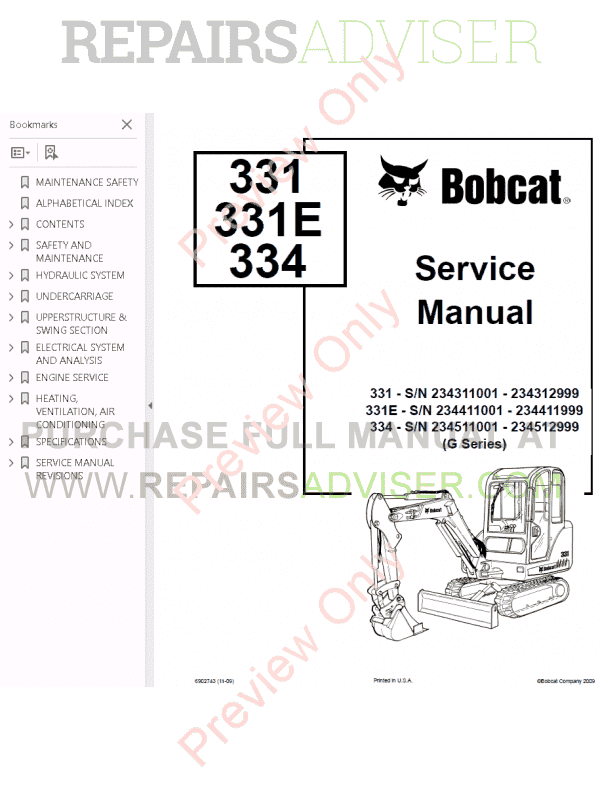 Bobcat 331, 331E, 334 Excavators G-Series Service Manual PDF image #1