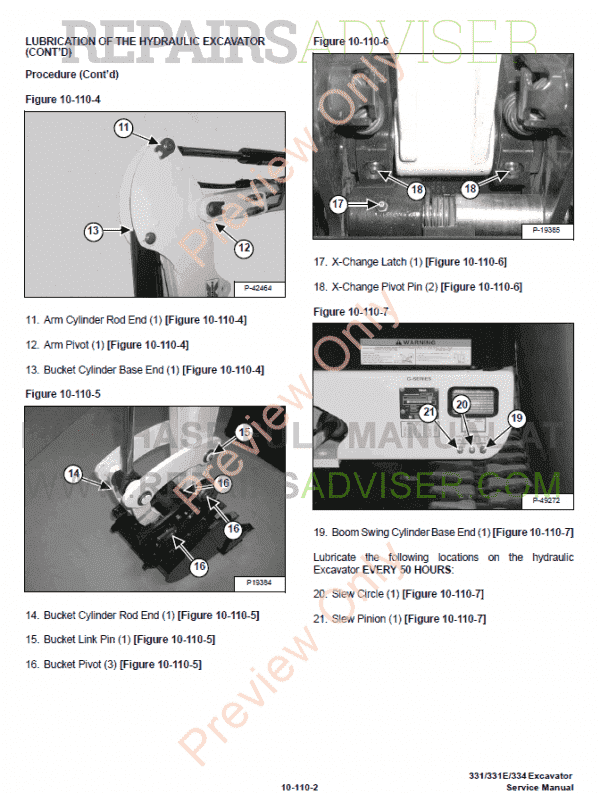 Bobcat 331, 331E, 334 Excavators G-Series Service Manual PDF, Bobcat Manuals by www.repairsadviser.com