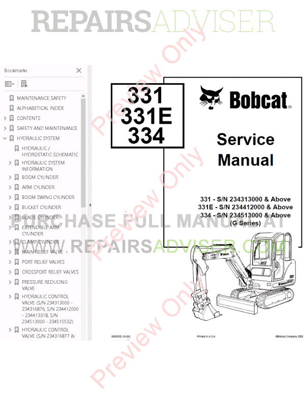 Bobcat 331 Maintenance manual