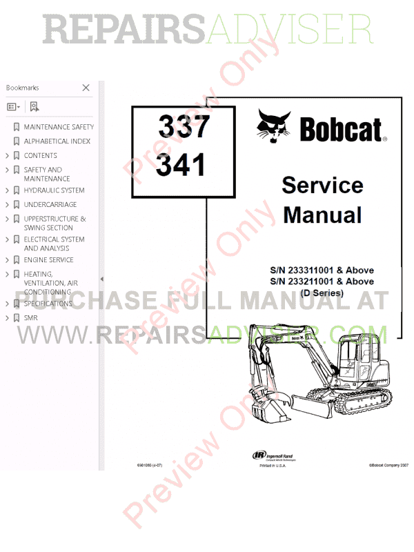 Bobcat 337, 341 Excavator Service Manual D-series PDF
