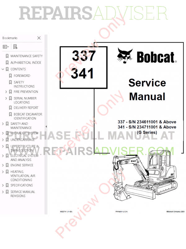 Bobcat 337, 341 Excavator Service Manual G-series PDF