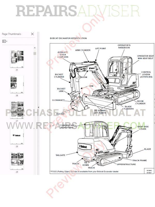 Bobcat 337, 341 Excavator Service Manual G-series PDF, Bobcat Manuals by www.repairsadviser.com