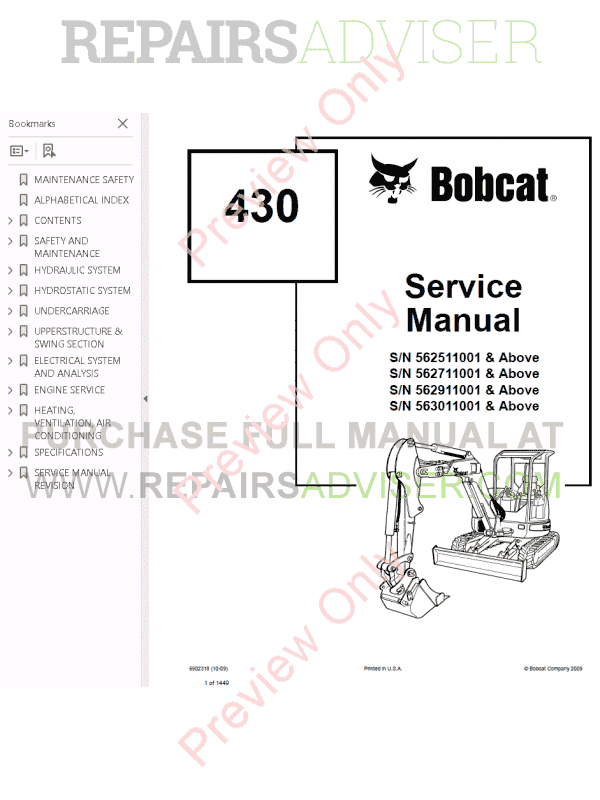 Bobcat 430 Mini Excavators Service Manual PDF, Bobcat Manuals by www.repairsadviser.com