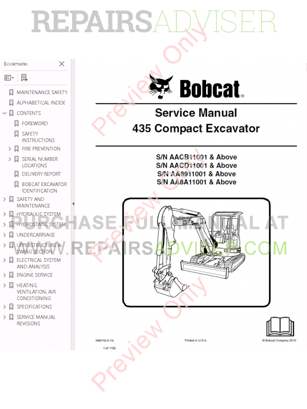 Bobcat 435 Compact Excavator Service Manual PDF Download