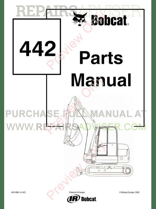 bobcat 442 compact excavator parts manual pdf