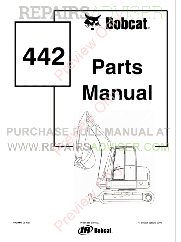 Bobcat 442 Compact Excavator Parts Manual PDF image #1