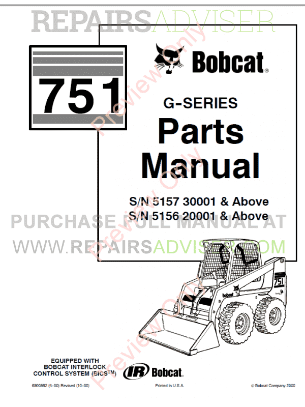 Bobcat 751 G Series Skid Steer Loader Parts Manual Pdf on Bobcat Parts Diagrams