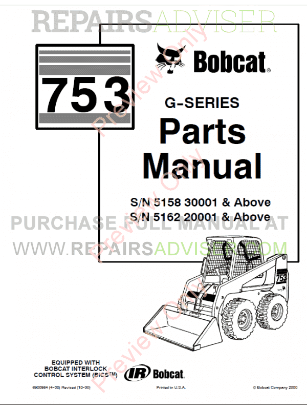 bobcat 753 g-series skid steer loader parts manual pdf