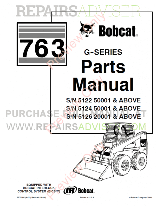 Bobcat 763 G-Series Skid Steer Loader Parts Manual PDF image #1