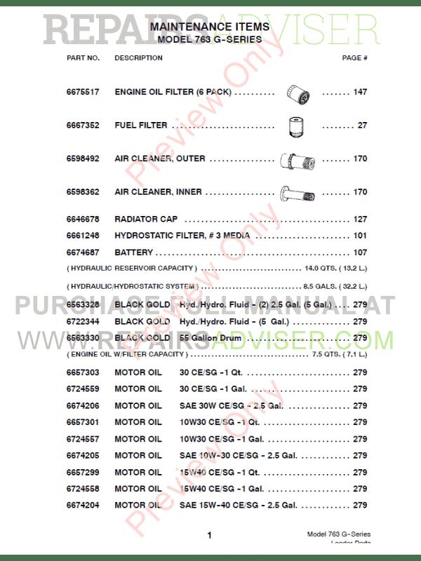 Download Bobcat 763 G-Series Loader Parts Book PDF