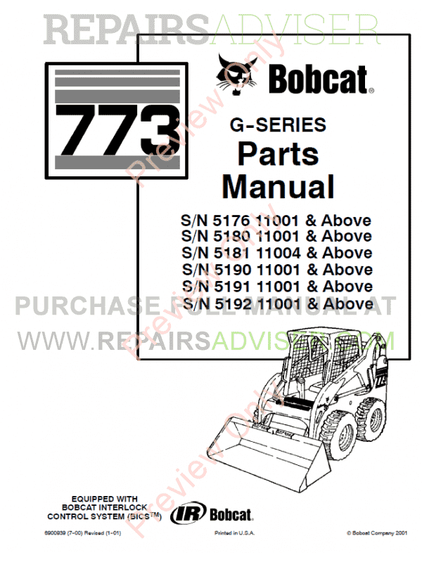 Bobcat 773 G Series Skid Steer Loader Parts Manual Pdf