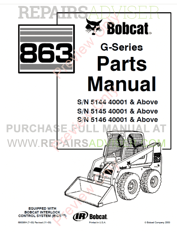 Bobcat 863 G-Series Skid Steer Loader Parts Manual PDF image #1