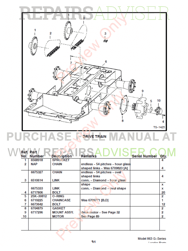 Bobcat 863 G-Series Skid Steer Loader Parts Manual PDF Download