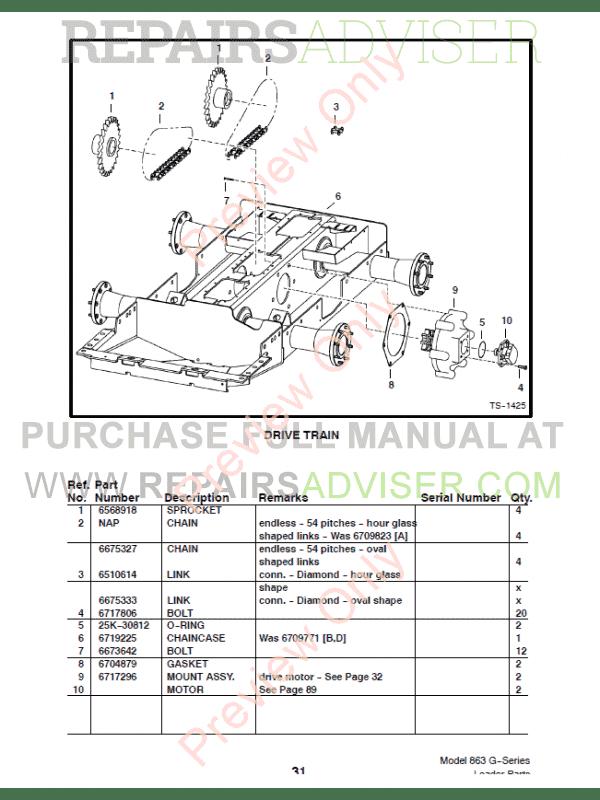 bobcat 863 g series skid steer loader parts manual pdf bobcat 863 service manual pdf Bobcat Parts Manual