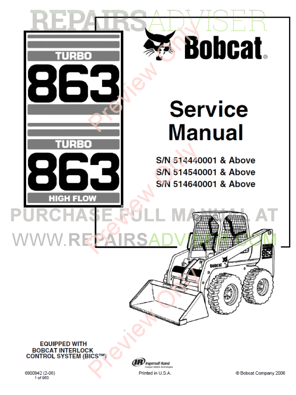 Bobcat 863 Turbo, 863 High Flow Turbo Loaders Service Manual PDF image #1