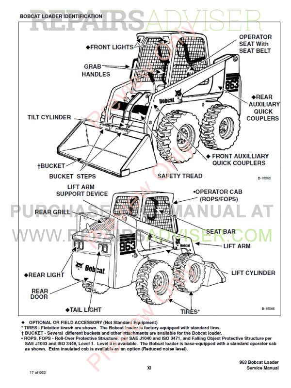 Bobcat 863 Turbo, 863 High Flow Turbo Loaders Service Manual PDF, Bobcat Manuals by www.repairsadviser.com