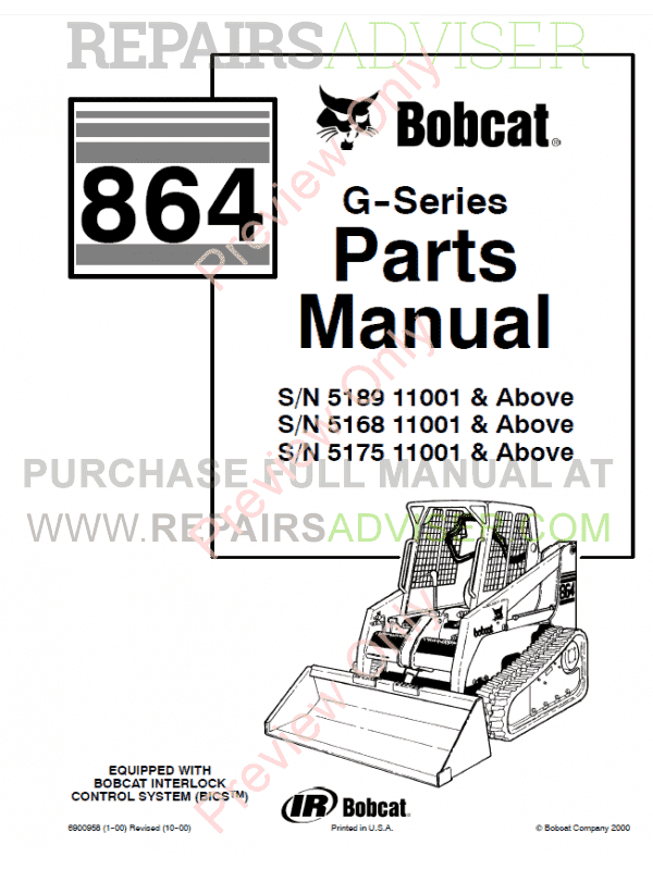 Bobcat 864 G-Series Skid Steer Loader Parts Manual PDF, Bobcat Manuals by www.repairsadviser.com