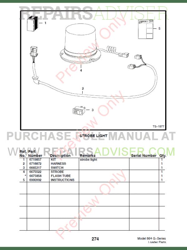Bobcat 864 G Series Skid Steer Loader Parts Manual Pdf Download