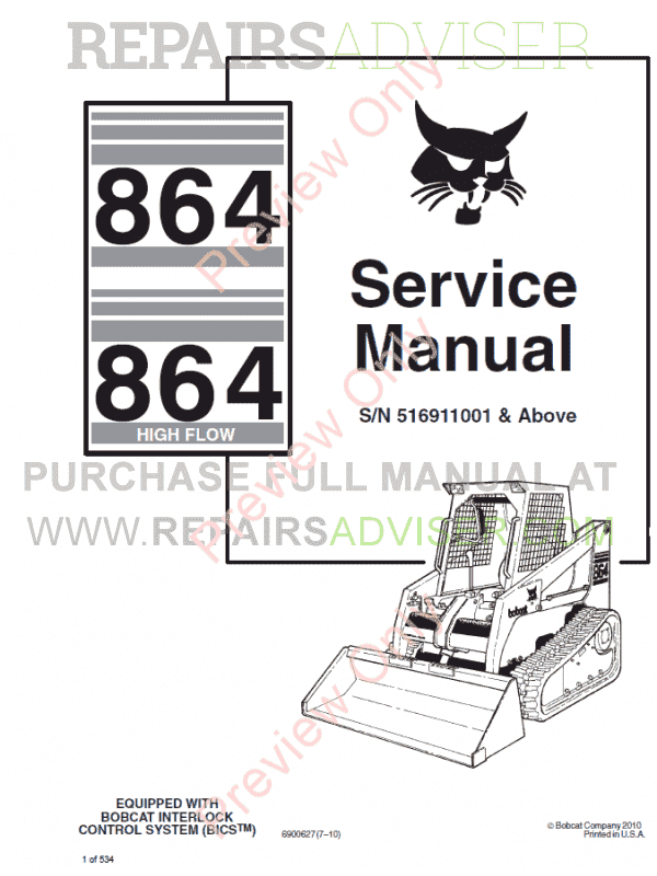 Bobcat 864, 864 High Flow Loader Service Manual PDF image #1
