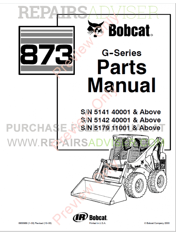 Bobcat 873 G Series Skid Steer Loader Parts Manual Pdf