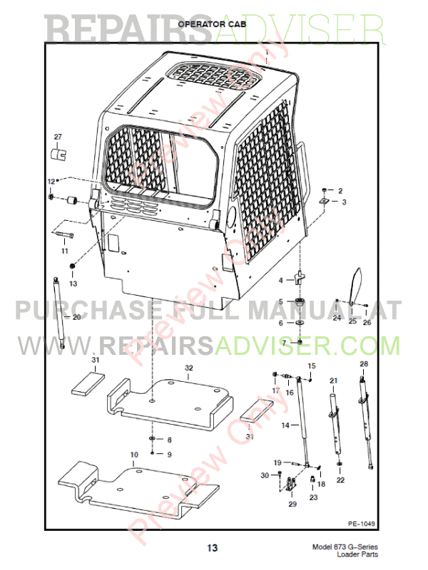 Bobcat 873 G-Series Skid Steer Loader Parts Manual PDF, Bobcat Manuals by www.repairsadviser.com