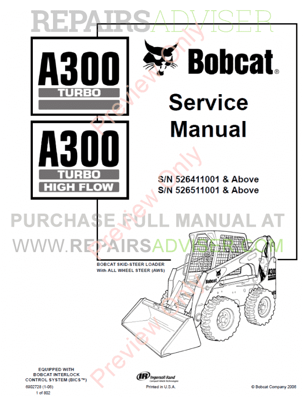 Bobcat A300 Turbo High Flow Skid Steer Loaders PDF Service Manual image #1