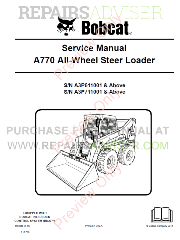 Bobcat A770 All-Wheel Steer Loader Service Manual PDF Download