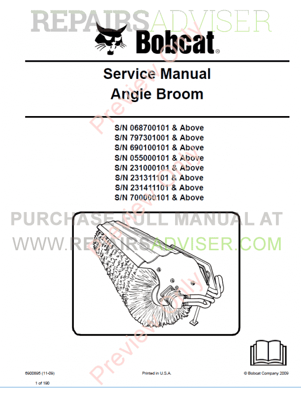 Bobcat Angle Broom PDF Service Manual  image #1
