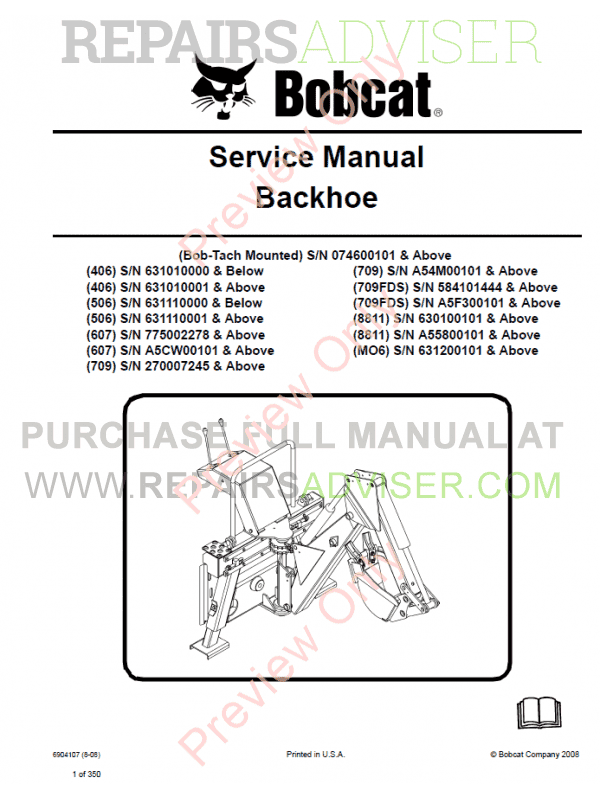 Bobcat Backhoe 406, 506, 607, 709, 709FDS, 8811, MO6 PDF Service Manual image #1
