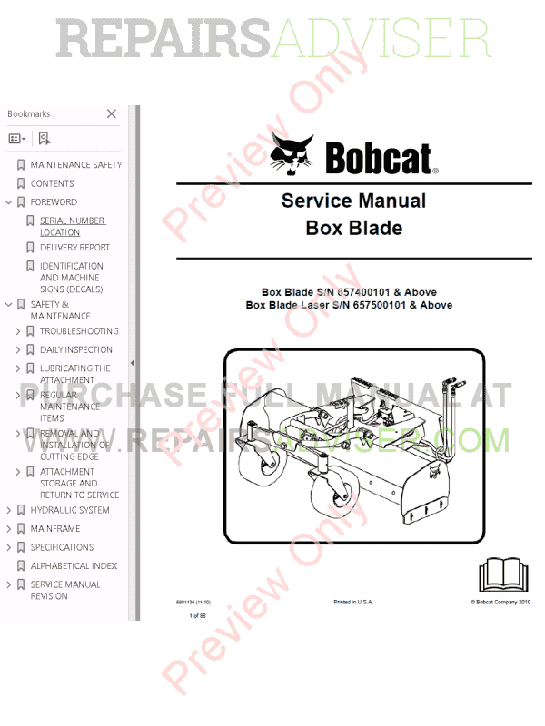 Bobcat Box Blade PDF Service Manual, Bobcat Manuals by www.repairsadviser.com
